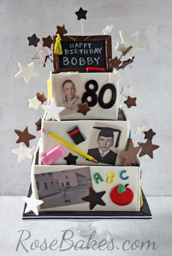 80th Birthday Cake for a Retired Teacher