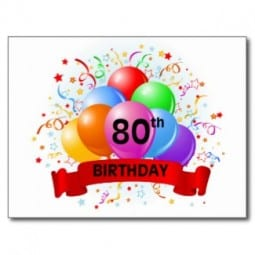 80th birthday card with balloons