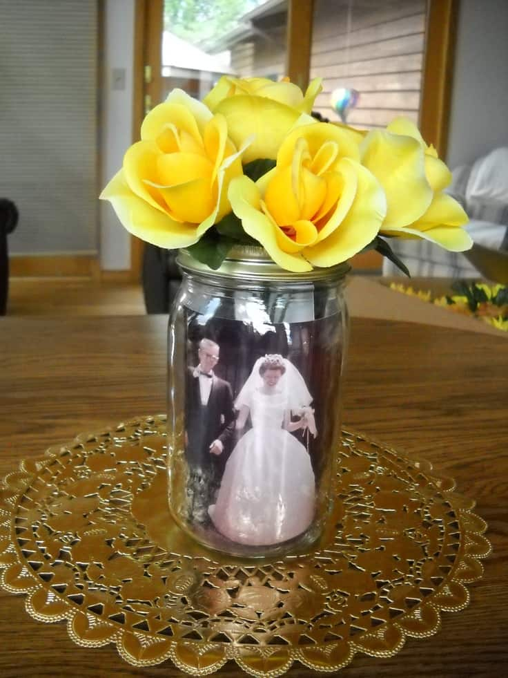 80th BIrthday Mason Jar Photo Centerpiece