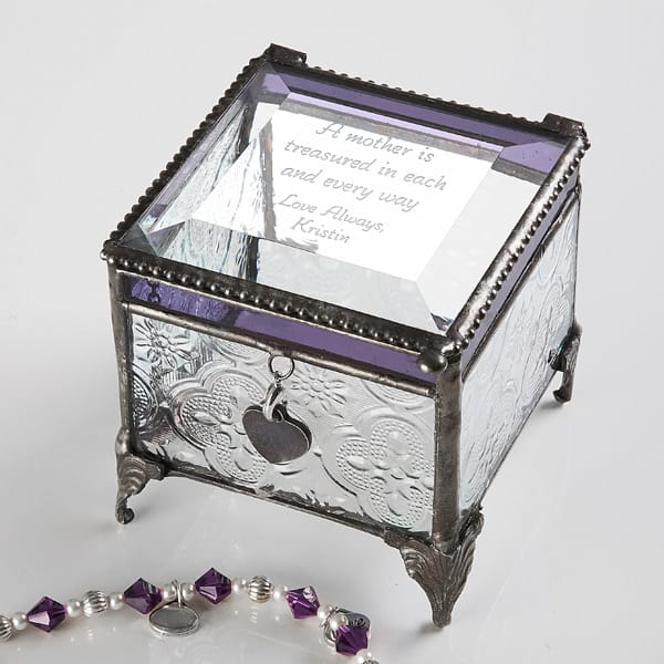 Beautiful personalized jewelry box is a sentimental gift that is perfect for a woman turning 80!  Add your own poem or special engraving to create a unique gift she will treasure!