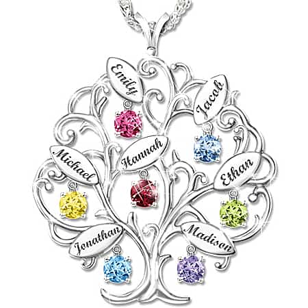 Family Tree Birthstone Necklace with Names