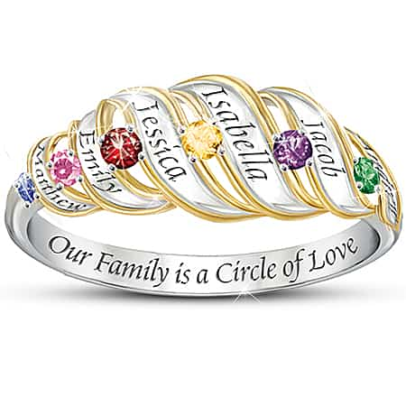 Mothers Birthstone Ring with Names