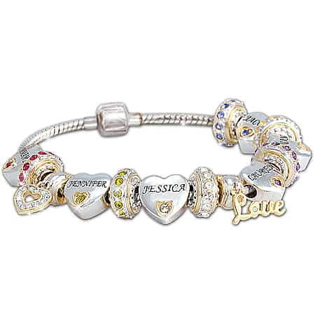Mothers Bracelet with Kids Names and Birthstones