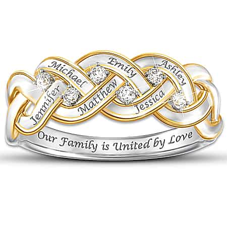 Mothers Diamond Ring with Kids Names