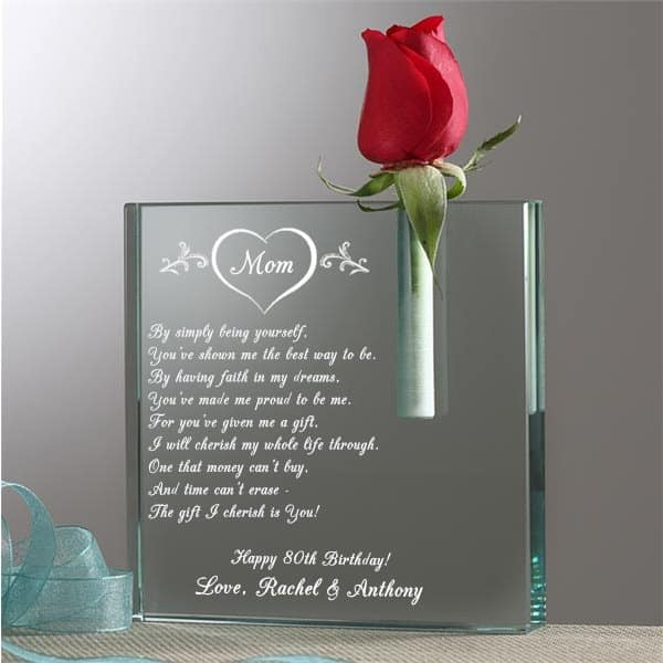Personalized 80th Birthday Bud Vase
