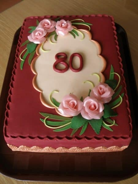 Elegant 80th Birthday Cake