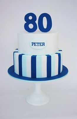 Blue And White Striped Birthday Cake