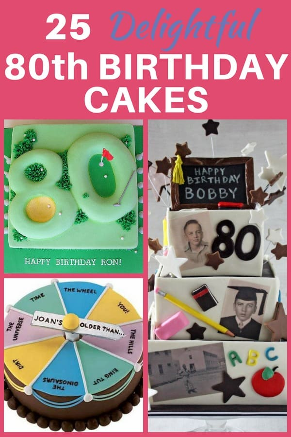 80th Birthday Cakes - Looking for a fun design for an 80th birthday cake?  Check out these 25 fabulous cake ideas, including both homemade and bought cakes.  #80thBirthdayIdeas.com #80thbirthday #birthdaycakes #cakedecorating