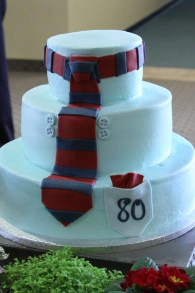80th Birthday Shirt And Tie Cake