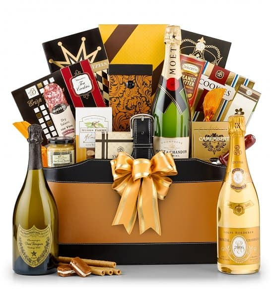 80th Birthday Champagne Gift Basket - Impress Dad, Mom or another special man or woman who is turning 80 with a luxurious champagne gift basket.