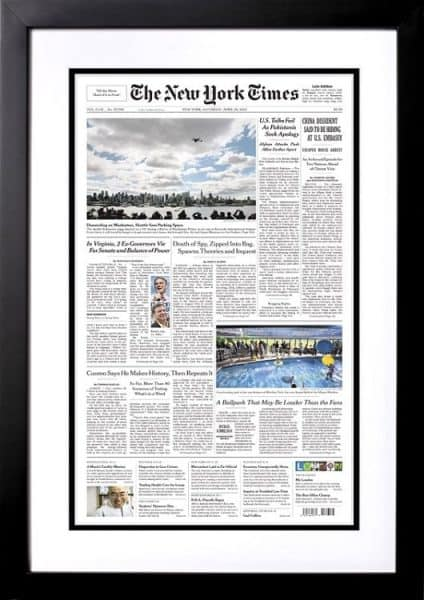 New York Times Front Page Reprint from the Day You Were Born