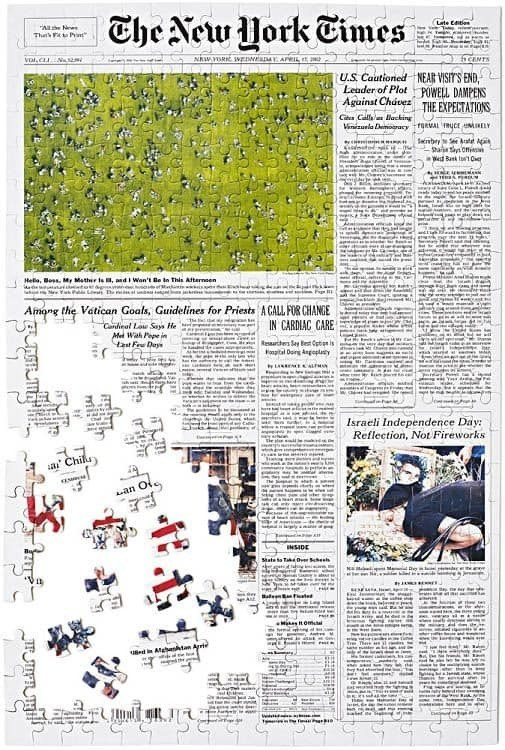 Personalized New York Times Front Page Jigsaw Puzzle
