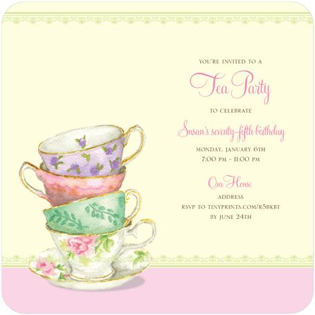80th Birthday Party Ideas 80th Birthday Ideas – Tea Birthday Party Invitations