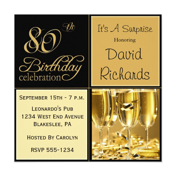 Elegant 80th Birthday Party Invitations  Birthday Invite Words