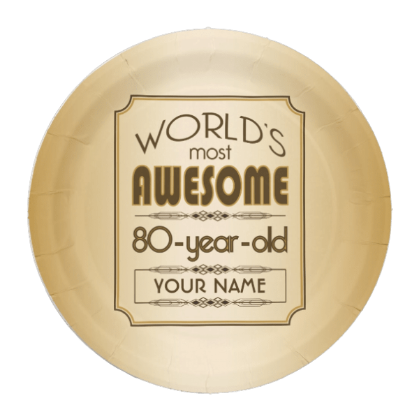 Personalized Gold World's Most Awesome 80 Year Old Theme
