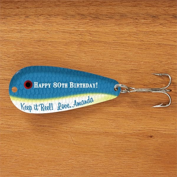 Are you looking for a unique 80th birthday gift that doesn't cost a fortune?  Personalized fishing lure is the perfect little under $15 gift for any man who enjoys fishing!
