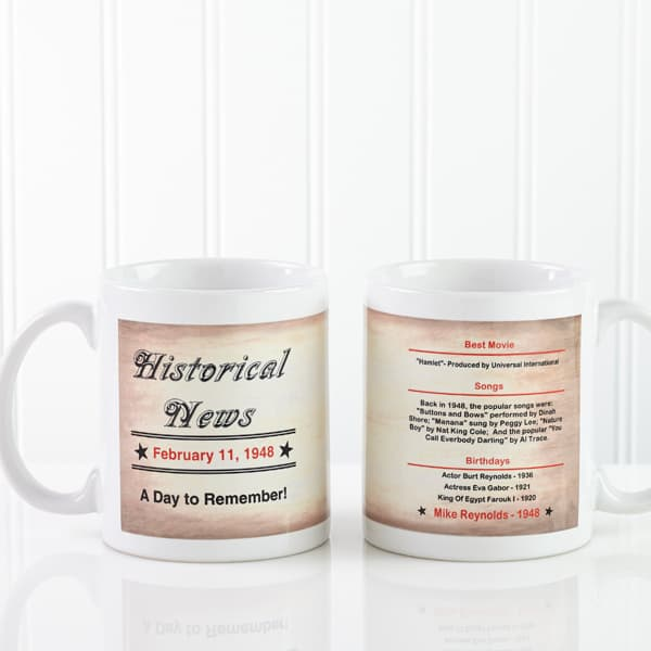 Need an inexpensive yet fun 80th birthday gift for men?  Send your favorite senior a personalized coffee mug that features fun facts about the day he was born...a memorable little gift that costs under $15!