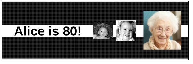 80th Birthday Banner with 3 Photos