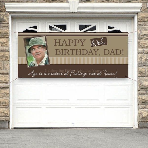 80th Birthday Photo Banner - Festive banner is a great way to greet guests to an 80th birthday party - or let everyone in the neighborhood know that someone special is celebrating his or her 80th birthday!  #80thBirthdayIdeas #birthdaydecorations