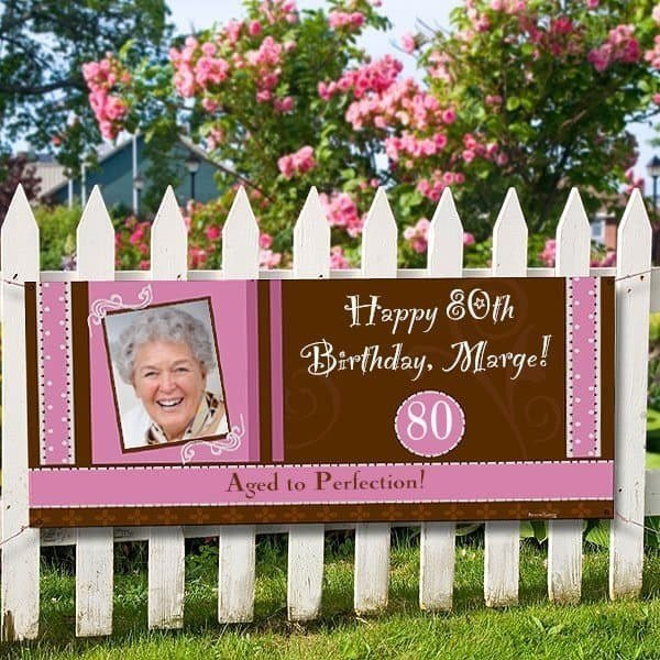 80th Birthday Photo Banner for Women - How cute is this pink and brown personalized birthday banner? Great way to celebrate Mom, Grandma or another special lady who is turning 80! #80thBirthdayIdeas #birthdaydecorations