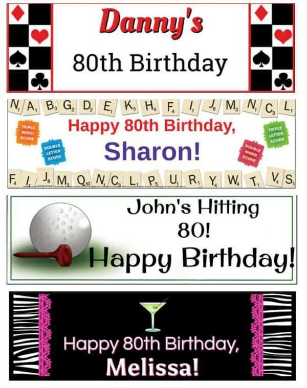 80th Birthday Banner Ideas - Add a fun splash of color to any 80th birthday celebration with a personalized Happy 80th Birthday banner!  #80thBirthdayIdeas #birthdaydecorations