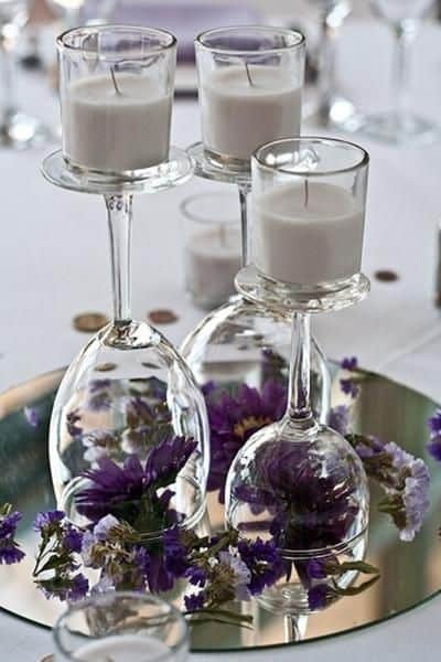 Wine Glass & Candles Centerpiece