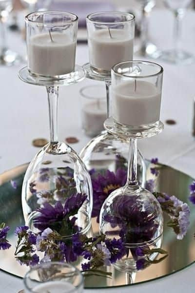 Wine Glass U0026 Candles Centerpiece