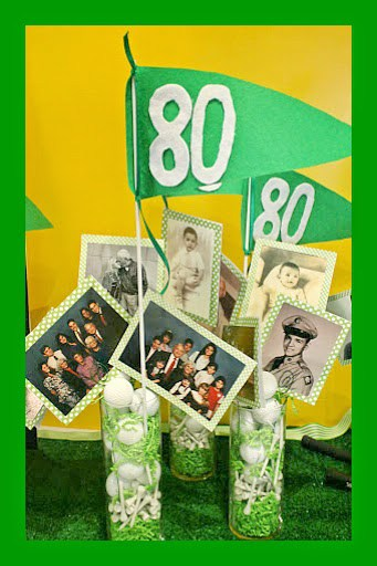 Golf Themed 80th Birthday Centerpiece with Photos