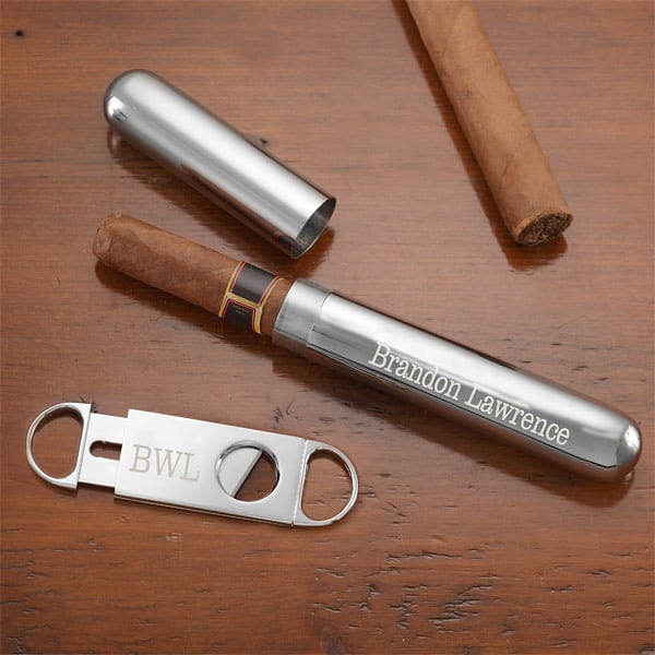 Handsome personalized silver cigar case and cutter set is a memorable gift for any cigar-lover.