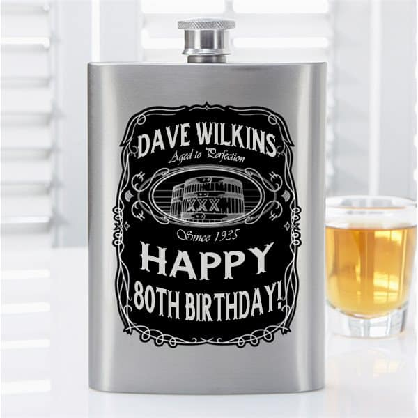 Personalized 80th Birthday Gifts for Dad - Treat Dad to a personalized flask for his 80th birthday! A unique gift that he can enjoy using or displaying in his man-cave. #80thBirthdayIdeas.com #giftsforhim #birthdaygifts