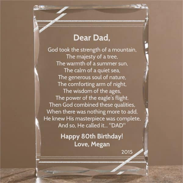 Dear Dad Personalized Poem Keepsake