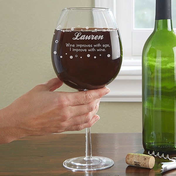 80th Birthday Wine Glass - Whole bottle wine glass is a funny 80th birthday gift idea for the wine lover!