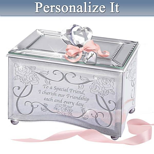 Personalized Special Friend Music Box is a sentimental 80th birthday gift idea that lets a special lady know how much you treasure her friendship.
