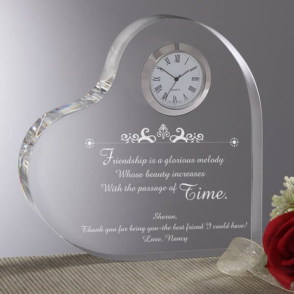 "Looking for a sentimental 80th birthday gift for women?  Add your own loving message to personalized ""Beauty of Friendship"" lucite clock."