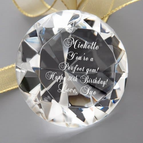 "Personalized 80th birthday gifts for women - Striking ""Perfect Gem"" crystal keepsake is a brilliant gift for the woman who has everything!"