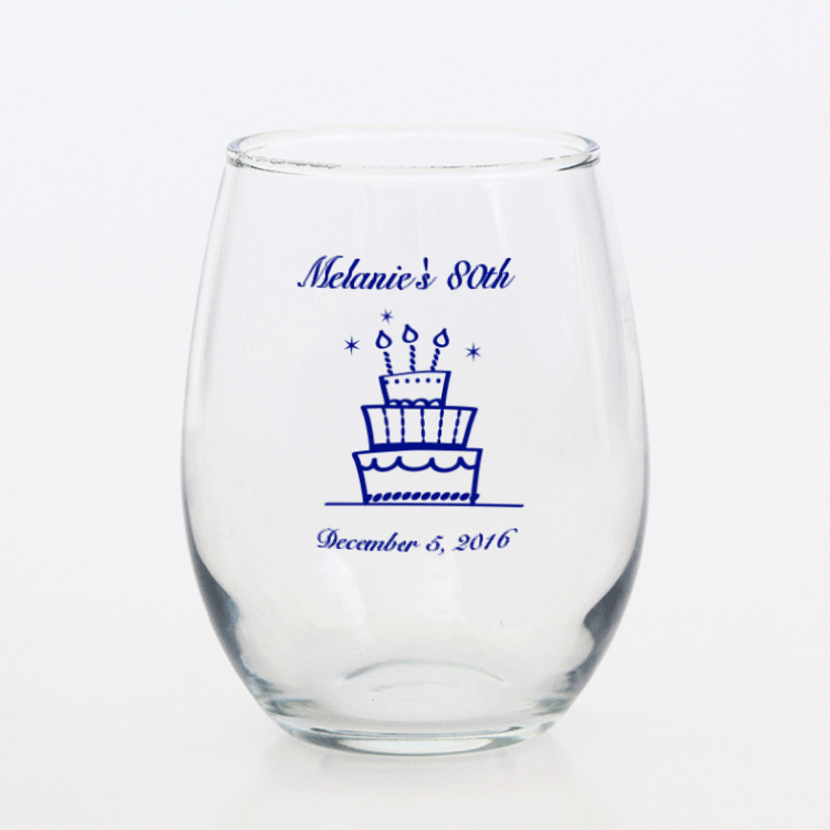 Personalized 80th Birthday Stemless Wine Glass 80th
