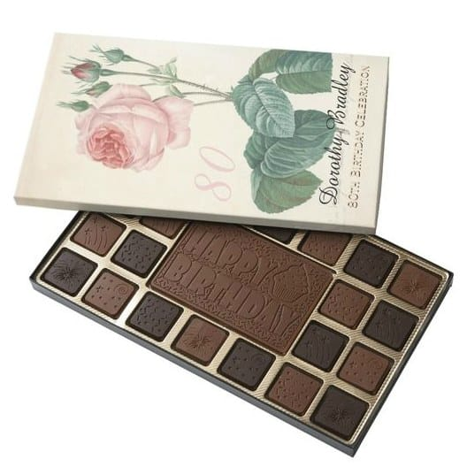 "Personalized 80th Birthday Chocolates - what a ""sweet"" gift for any woman turning 80!  Choose from dozens of styles."