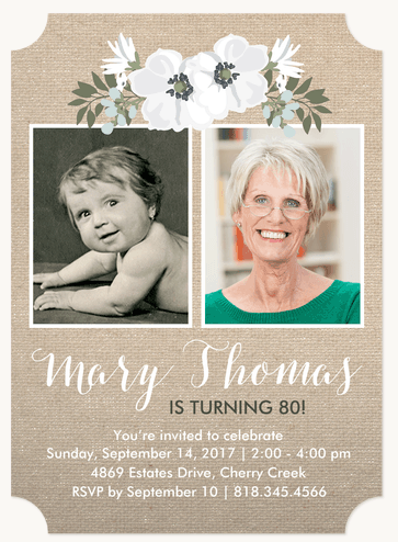 How cute are these 80th birthday photo invitations?  What a delightful way to show how much the birthday gal has changed over the years.