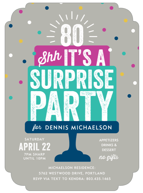 Surprise 80th Birthday Party Invitation Wording Ideas