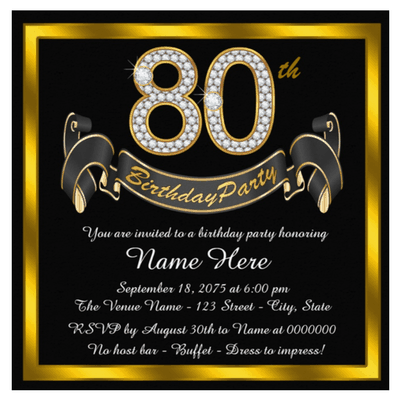 Elegant black and gold 80th birthday party invitations are sure to impress your guests!