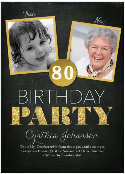 Striking gold and black 80th birthday photo invite sets the tone for an exciting celebration!