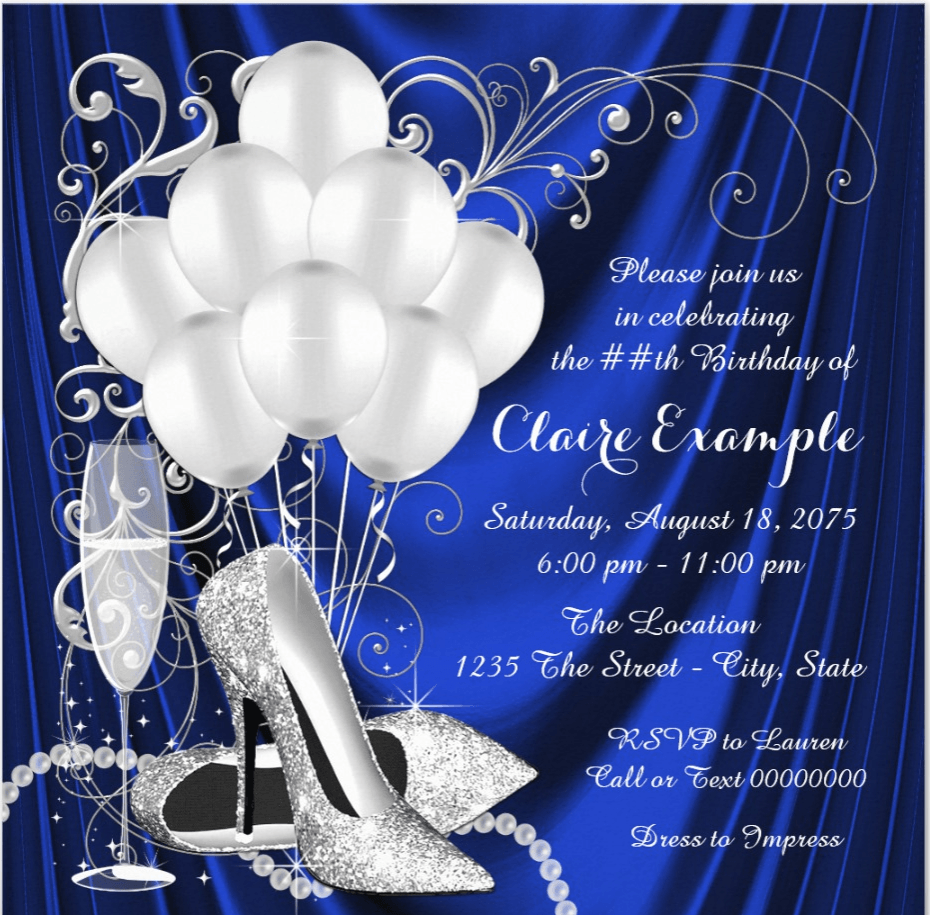 Elegant blue and silver 80th birthday invitations are perfect for a dance party or formal occasion.