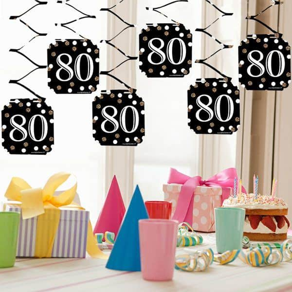 80th Birthday Hanging Decorations - Add flair to your 80th birthday party with festive hanging decorations.