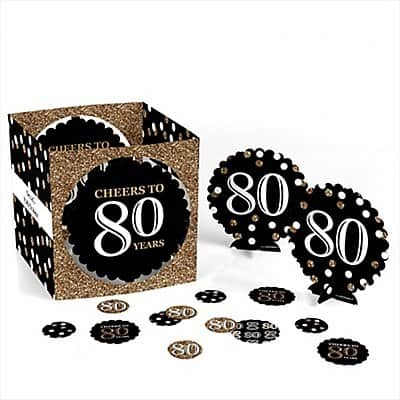 80th Birthday Personalized Centerpieces - It's so easy for you to set a festive table with these easy to use personalized 80th birthday centerpieces!