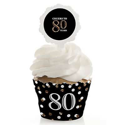 80th Birthday Cupcake Toppers - Bling out your cupcakes with these adorable 80th birthday cupcake wrappers and toppers!