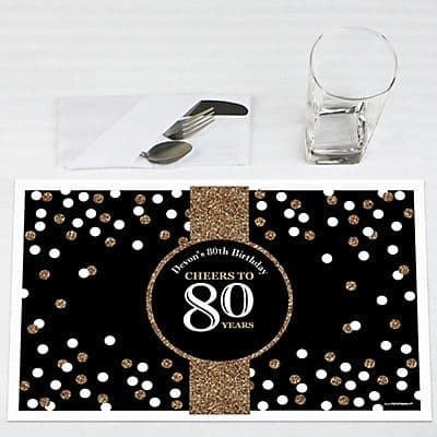 80th Birthday Placemats - Add a touch of elegance to your table with these striking personalized Cheers to 80 Years birthday party placemats.