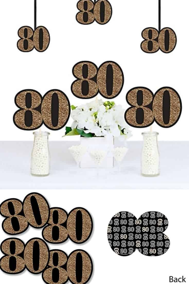 80th Birthday Party Decorations - Versatile black and gold number 80 shaped cutouts are perfect for centerpieces or hanging decorations.
