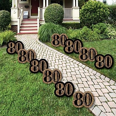 Black and gold number 80 yard signs are the perfect path markers to lead your guest to the party!