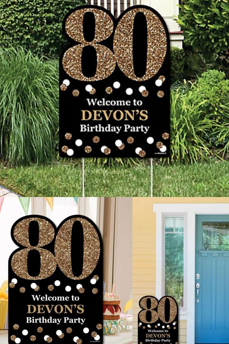 80th Birthday Yard Decorations - what a fabulous way to greet your party guests!