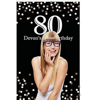 Personalized 80th Birthday Party Photo Backdrop